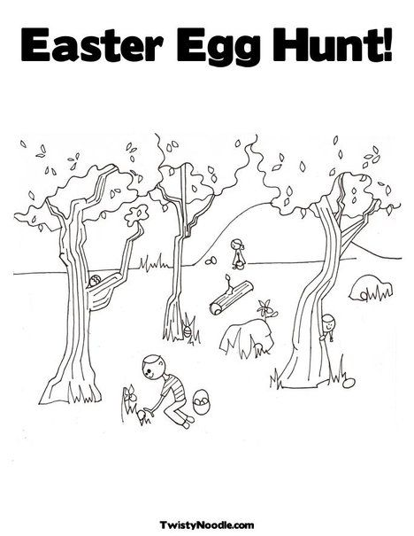 Easter Egg Hunt Coloring Page From Twistynoodle Com Easter Egg Hunt Easter Coloring Pages Egg Hunt
