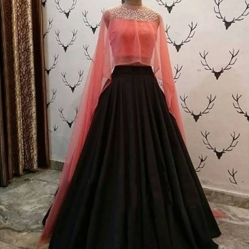 Latest Designer Girls Party Wear Black And Peach Crop Top Lehenga In 2020 Indian Gowns Dresses Indian Gowns Indian Wedding Gowns