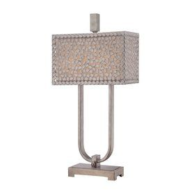 Quoizel Confetti 29.5-In 3-Way Old Silver Indoor Table Lamp With Fabri