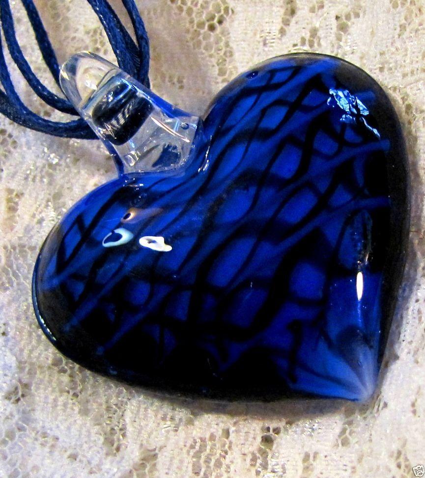 Deep Blue Lampwork Glass Heart Pendant on Blue Italian Mesh Necklace @   http://myworld.ebay.com/kikimalone13
