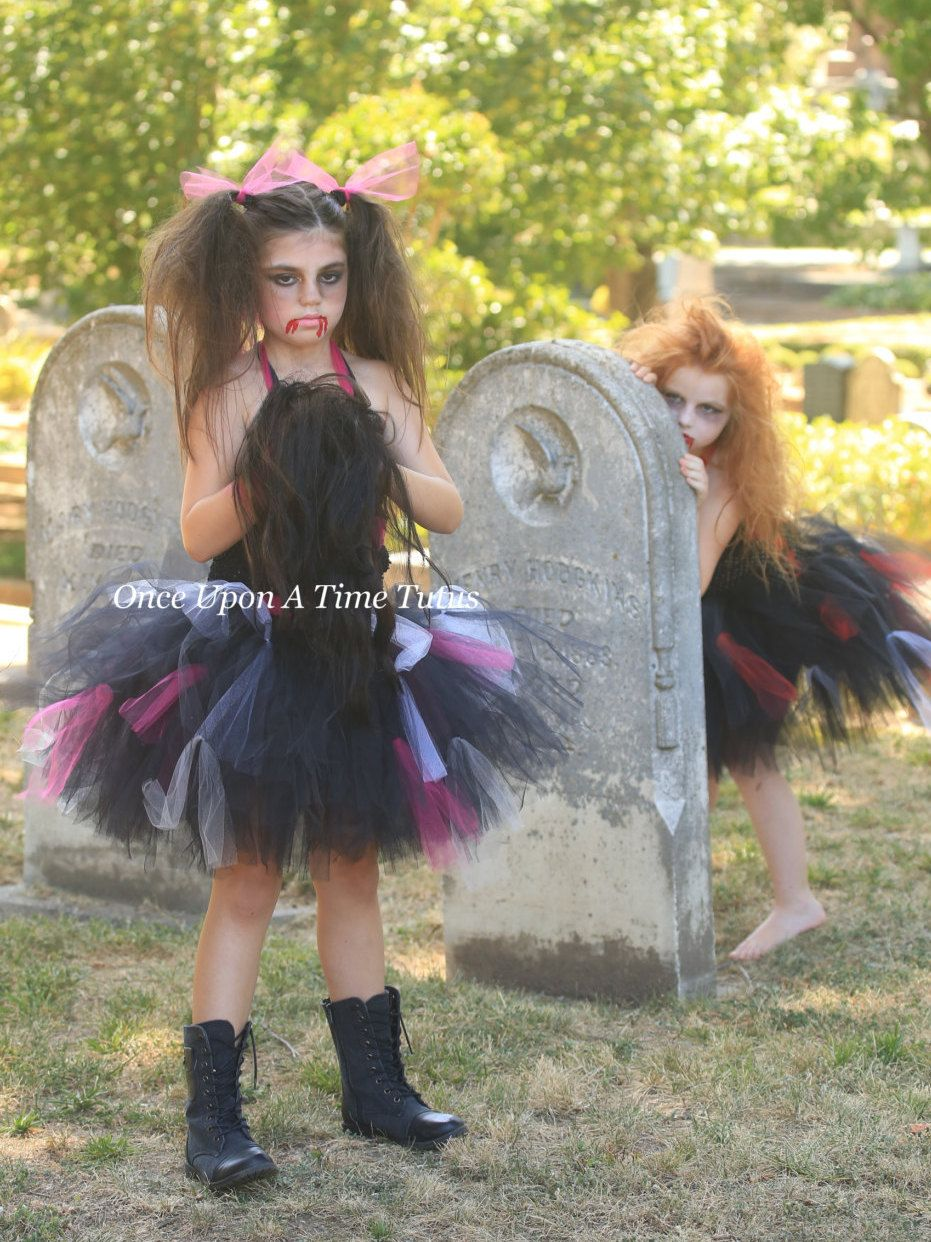 Zombie Tutu Dress - Black Hot Pink Halloween Costume - Little ...