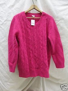 J CREW Sweater PINK Lambswool Nylon Cable Knit Scoop Neck Womens XL