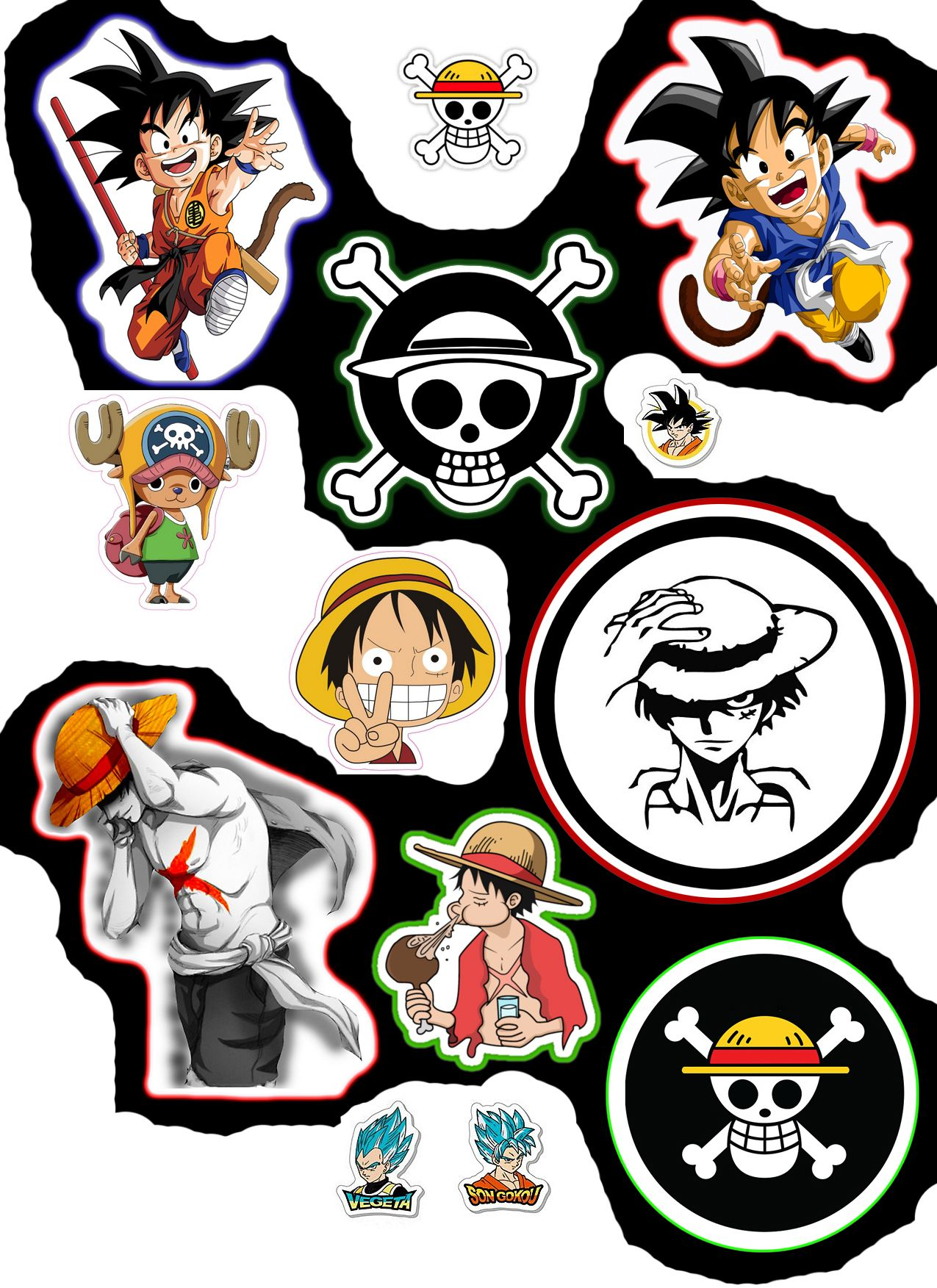 Sticker one piece and dragon ball