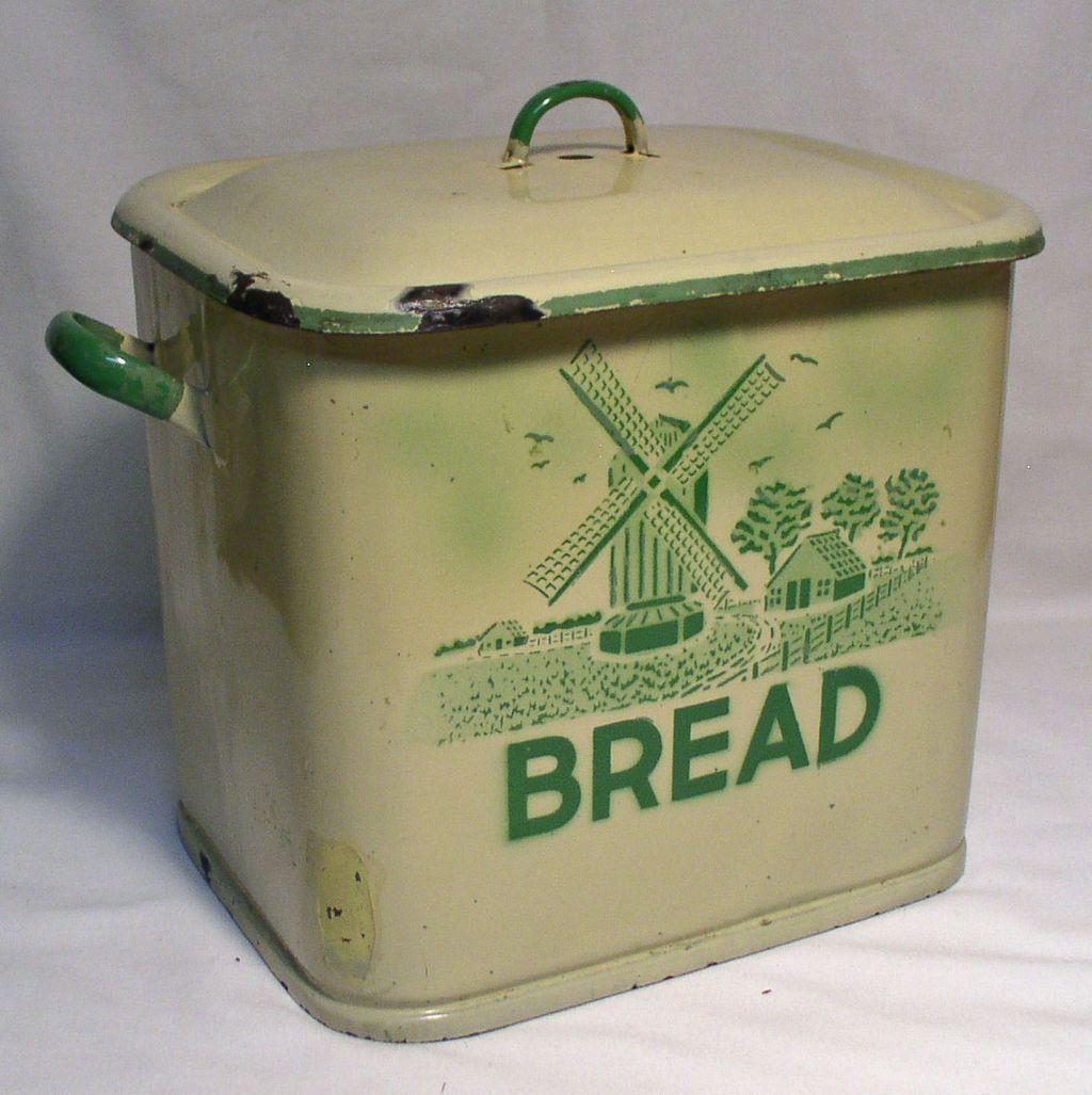 Tin bread box drawer insert - Vintage Kitchen Rubylane Vintage Breadbox With Windmill Motif