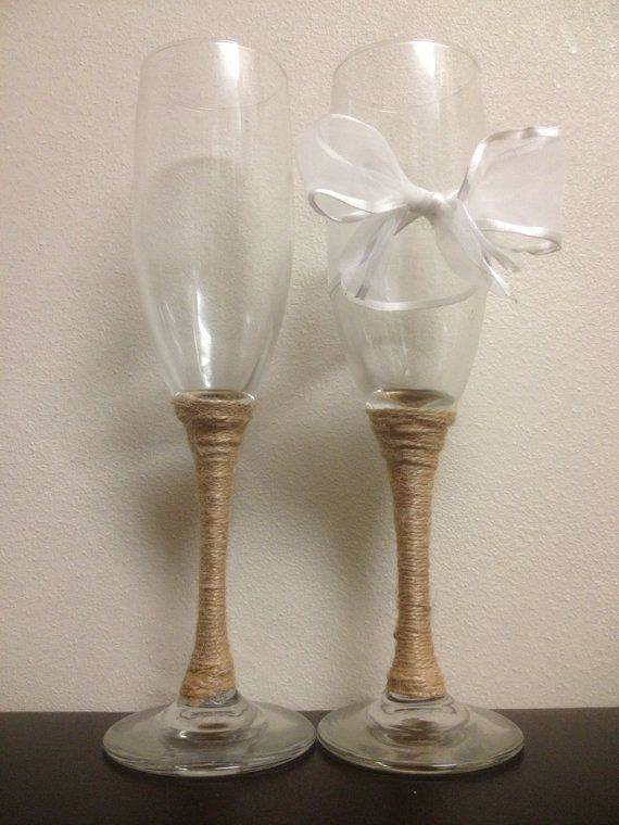 Wedding Champagne Toast Glasses with White Bow and twine. Rustic/Shabby Chic