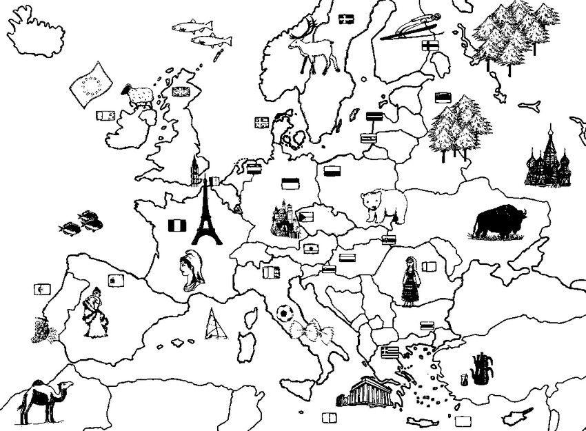 Kleurplaat Europa Kaarten Kleurplaat Europa Thema De Wereld Pinterest Europa