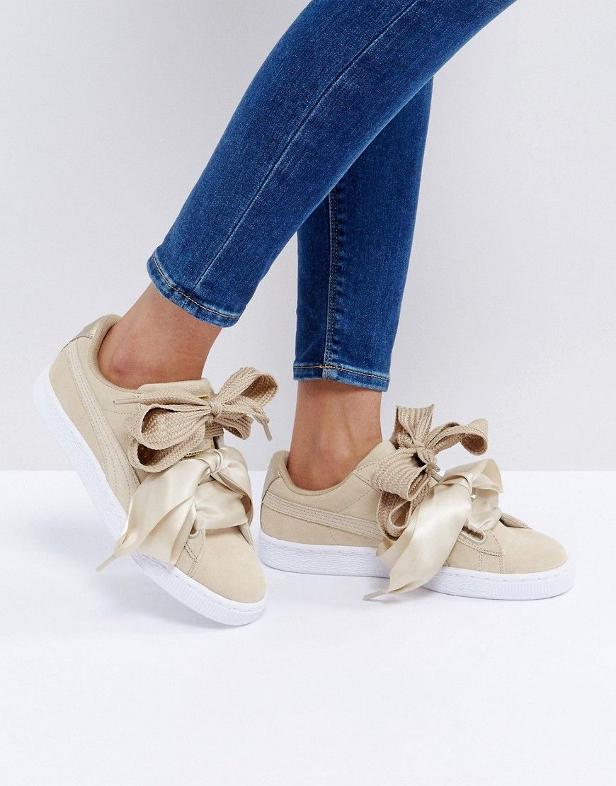 puma beige basket heart met safari trainers