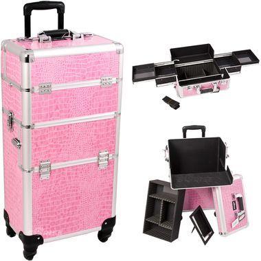 Pink Croc Trolley Makeup Case - I3161
