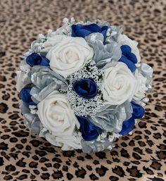Royal Blue And Silver Silk Wedding Bridal Bouquet Wonderland
