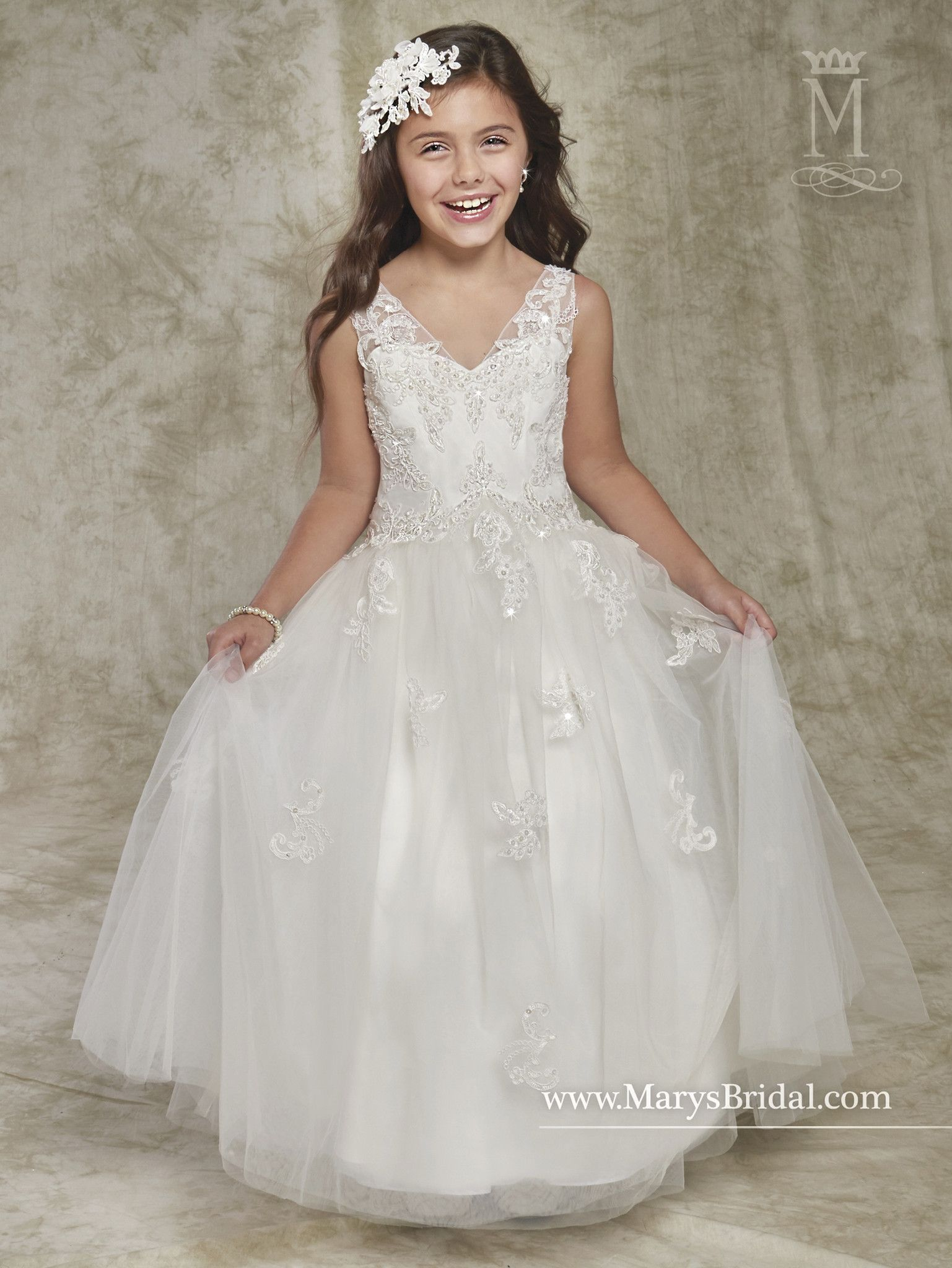 05fb88dcdf6 Sleeveless Sequined Lace Flower Girl Dress by Mary s Bridal Cupids F536