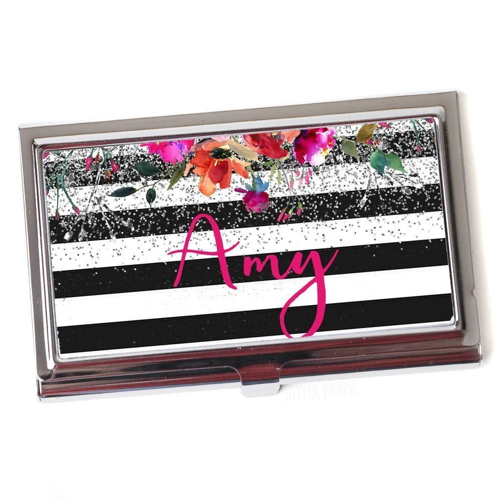 Floral Business Card Case for Women - Metal Business Card Holder ...