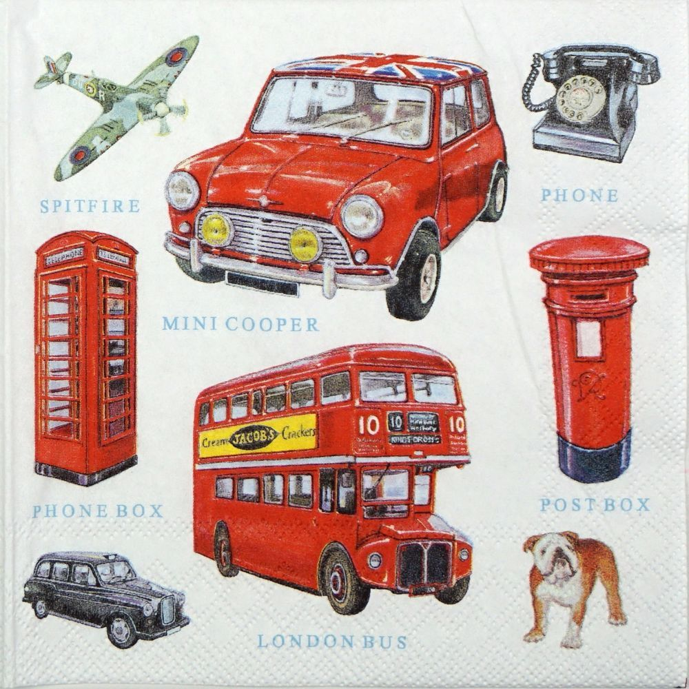 33 x 33cm 4 Paper Napkins for Decoupage 3-ply Classic Cars Pack of 4 Individual Napkins