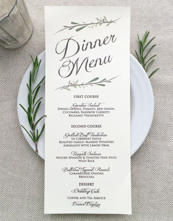 Wedding Menu Card Rustic Menus Ivory Or White Meal Options Spring Fall Printed