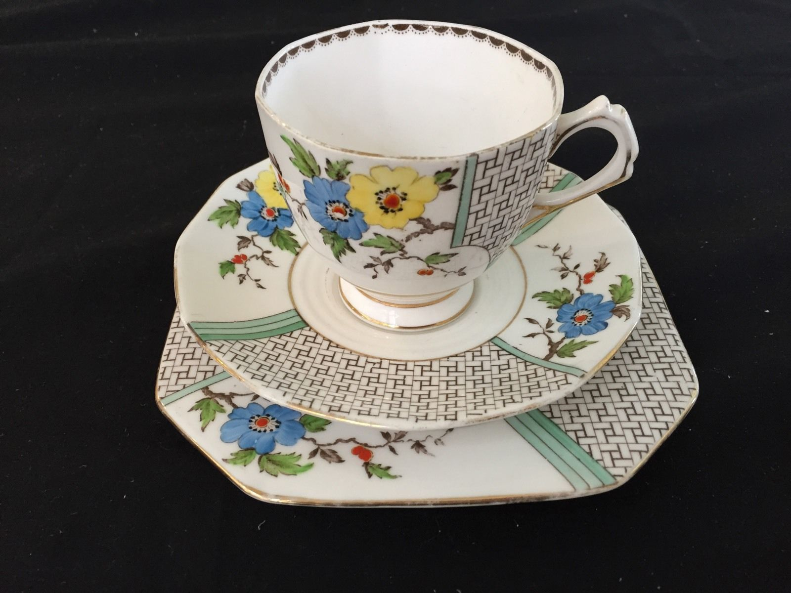 Tuscan 'Plant' China England Trio CUP Saucer Side Plate VG Cond | eBay