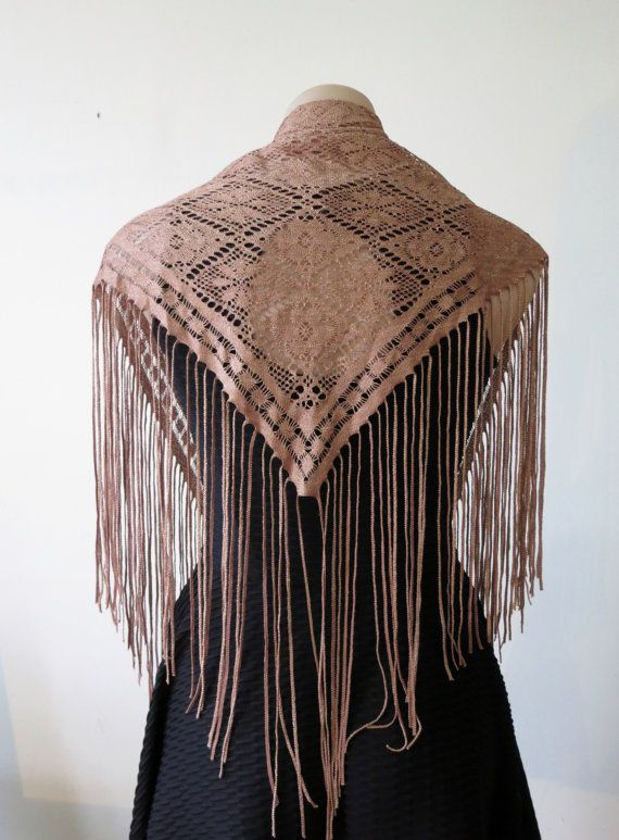 90s tan lace shawl fringed top lace scarf belly by ExtraExtraShop, $10.00