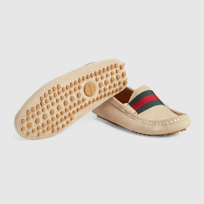 05ac78920 Gucci Children's sand suede driver with green/red/green web detail and a  pebbled sole.