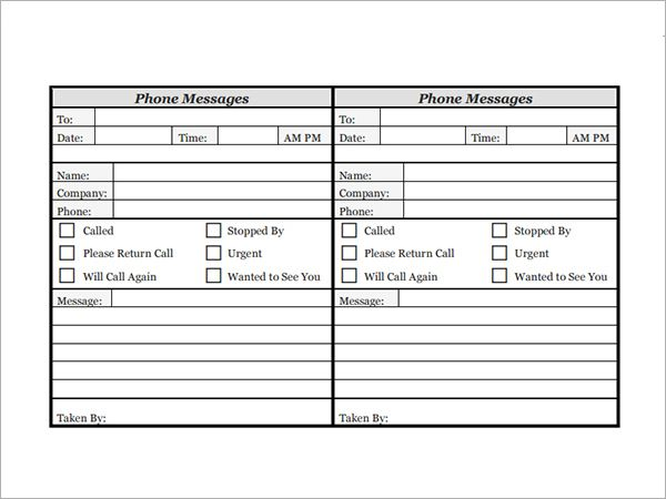 P L M T  Memo Pads    Phone Messages Template And Messages
