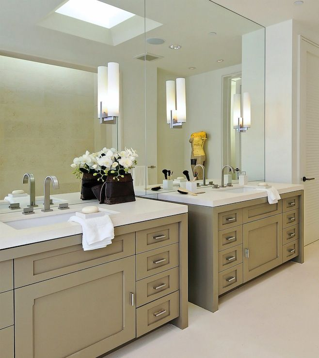 bathroom ideas modern bathroom wall sconces with large frameless mirror above double grey bathrom vanities