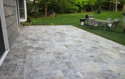 Great Silver Travertine Outdoor Patio