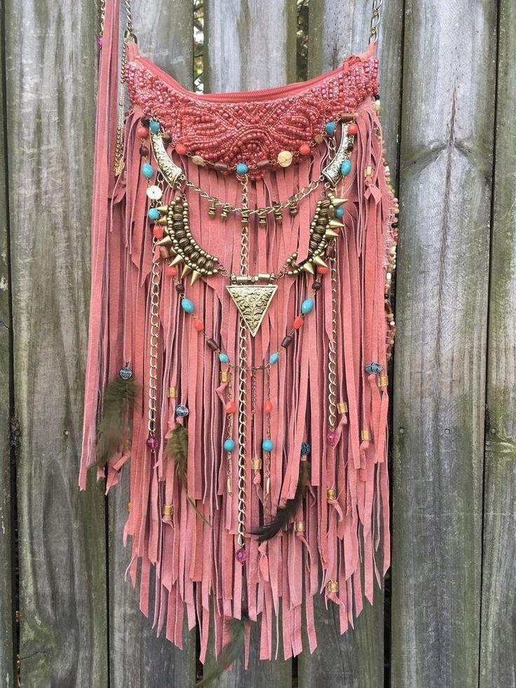 Handmade Pink Suede Leather Cross Body Bag Hippie Fringe