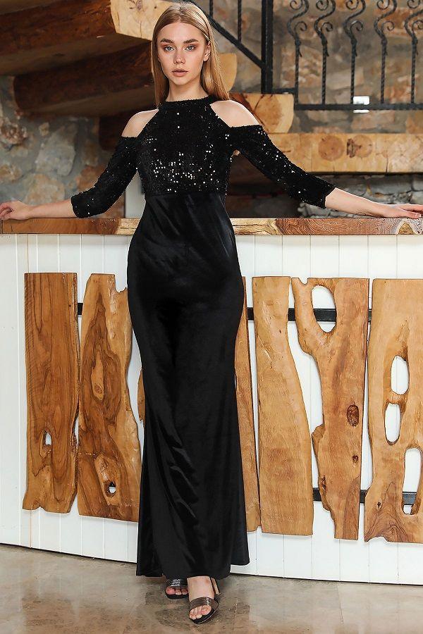 فستان سهرة مخملي طويل أسود موديل سمكة بجزء علوي ترتر نسائي Long Black Evening Dress Evening Dresses Sale Evening Dresses Long