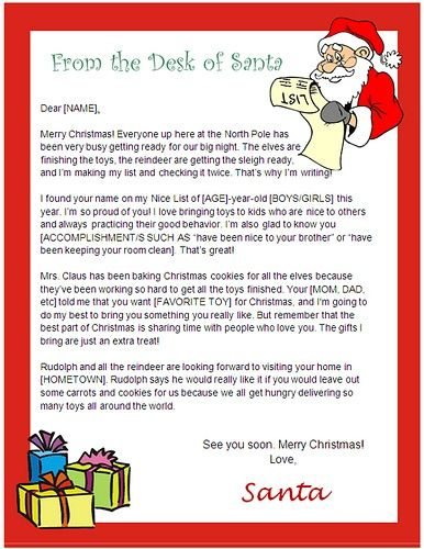 letter from santa template word |  usable ms word template from