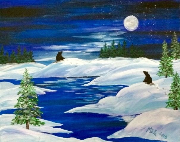 Moonlight Bears Painting Snow Covered Hills And Winding River Moonlit Night Painting Beginner Canvas Pastel Artwork Acrylic Painting Canvas Holiday Painting