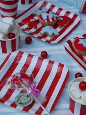 Party Tableware paper cups plates straws and jelly pots and cases & rid/white striped partyware @ jellyandblancmange.co.uk | Elliott ...