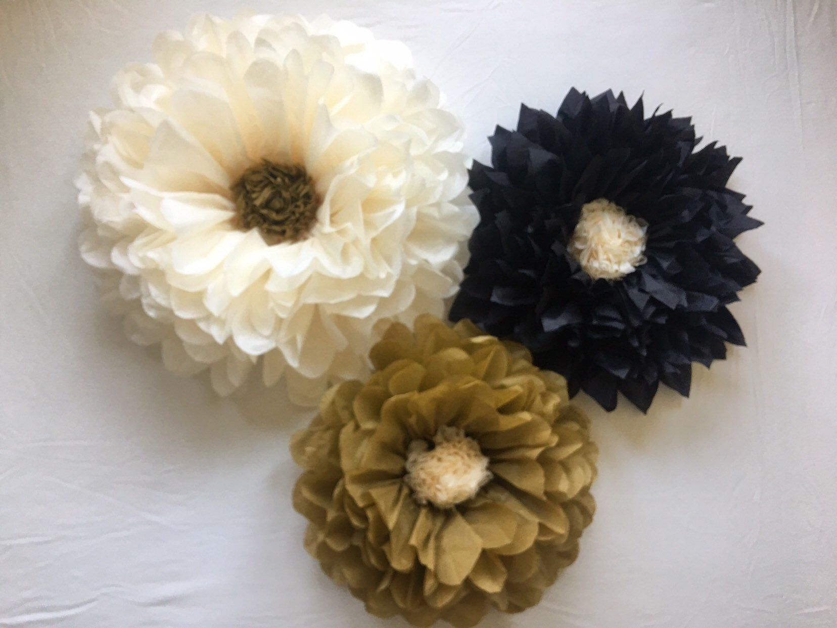 Gold Black And Cream Paper Flower Set For Bridal Showers Photo