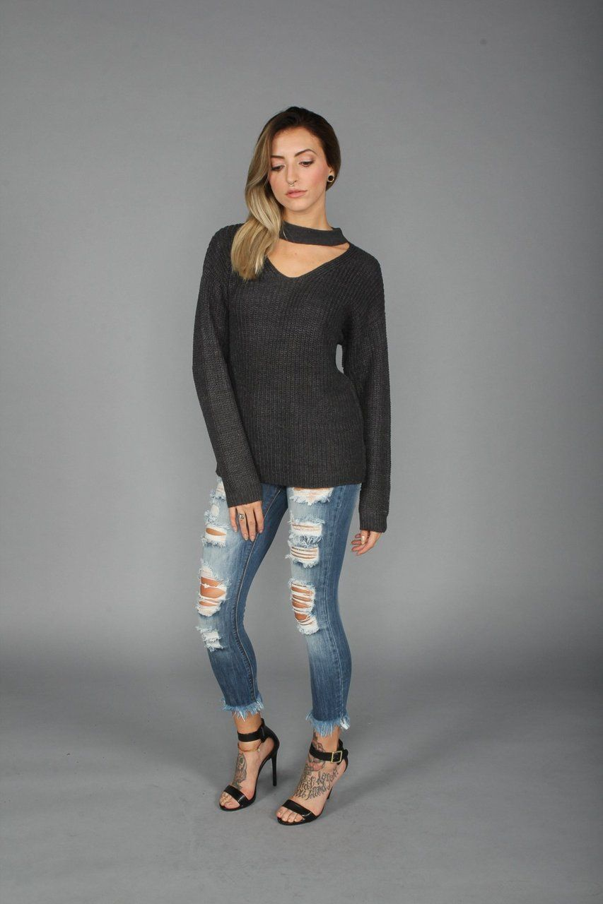 4d0828c94df5 Choker Pullover Sweater in Charcoal