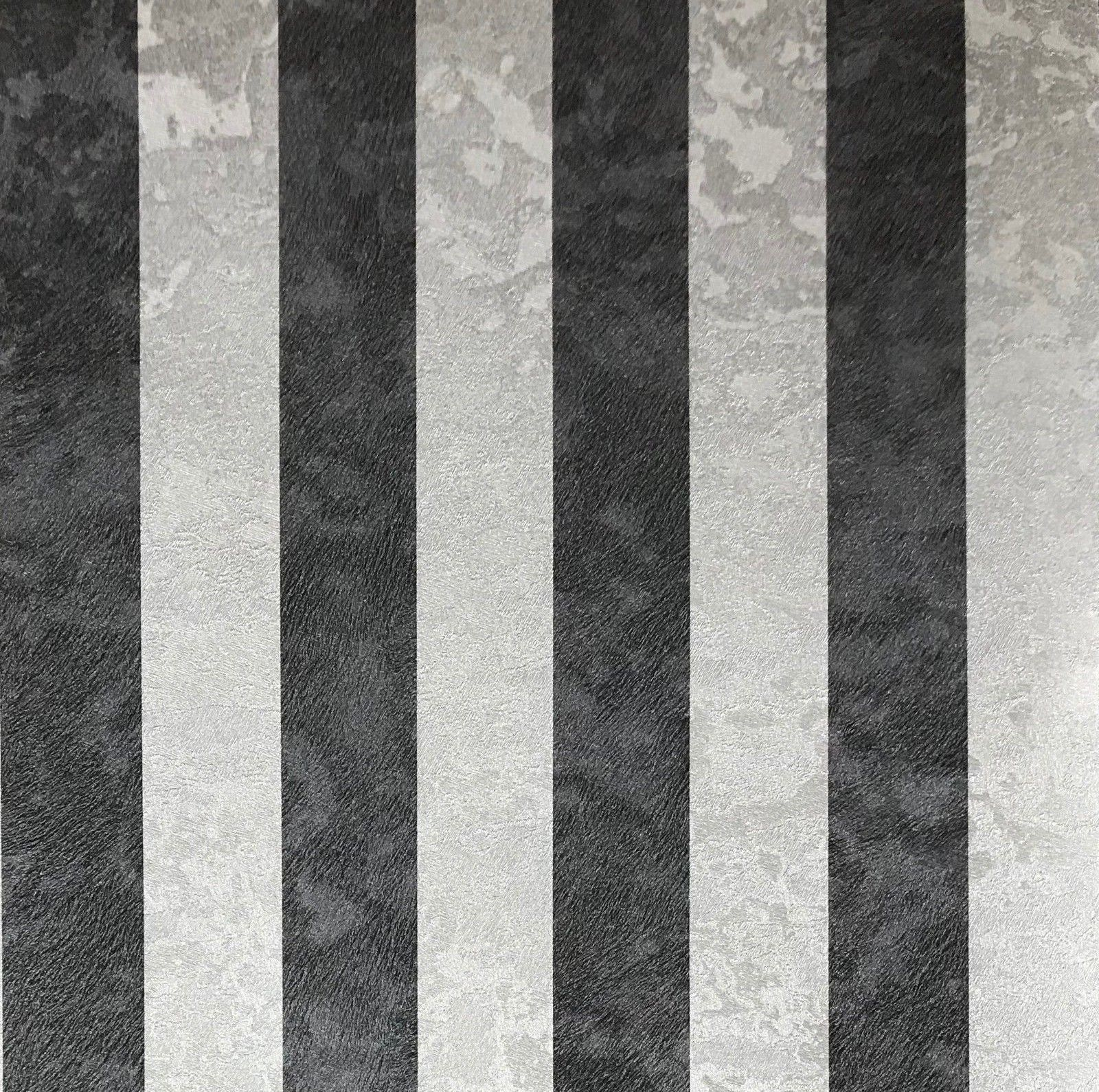 300061 Wallpaper Silver Black Metallic Textured Striped