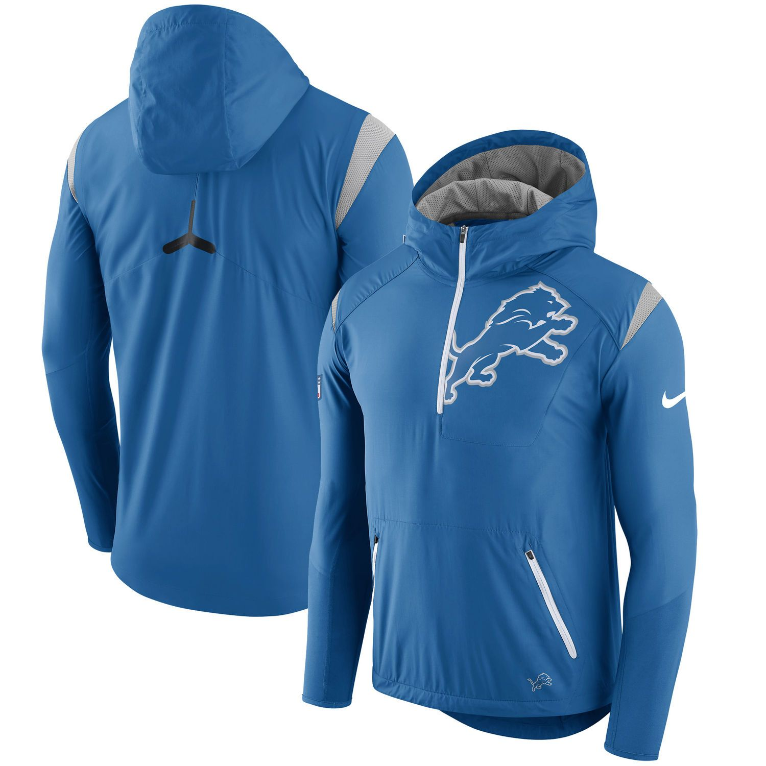 finest selection be558 21a9c Men s Detroit Lions Nike Royal Sideline Fly Rush Half-Zip Pullover Jacket