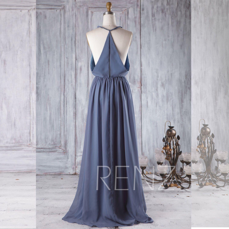 v neck chiffon bridesmaid dress steel blue wedding dress a