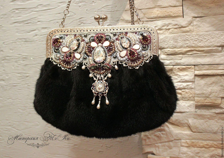 29cfad84f826 Купить Женская зимняя сумка из меха норки, вечерняя сумочка Мадмуазель -  белый, абстрактный, сиреневый
