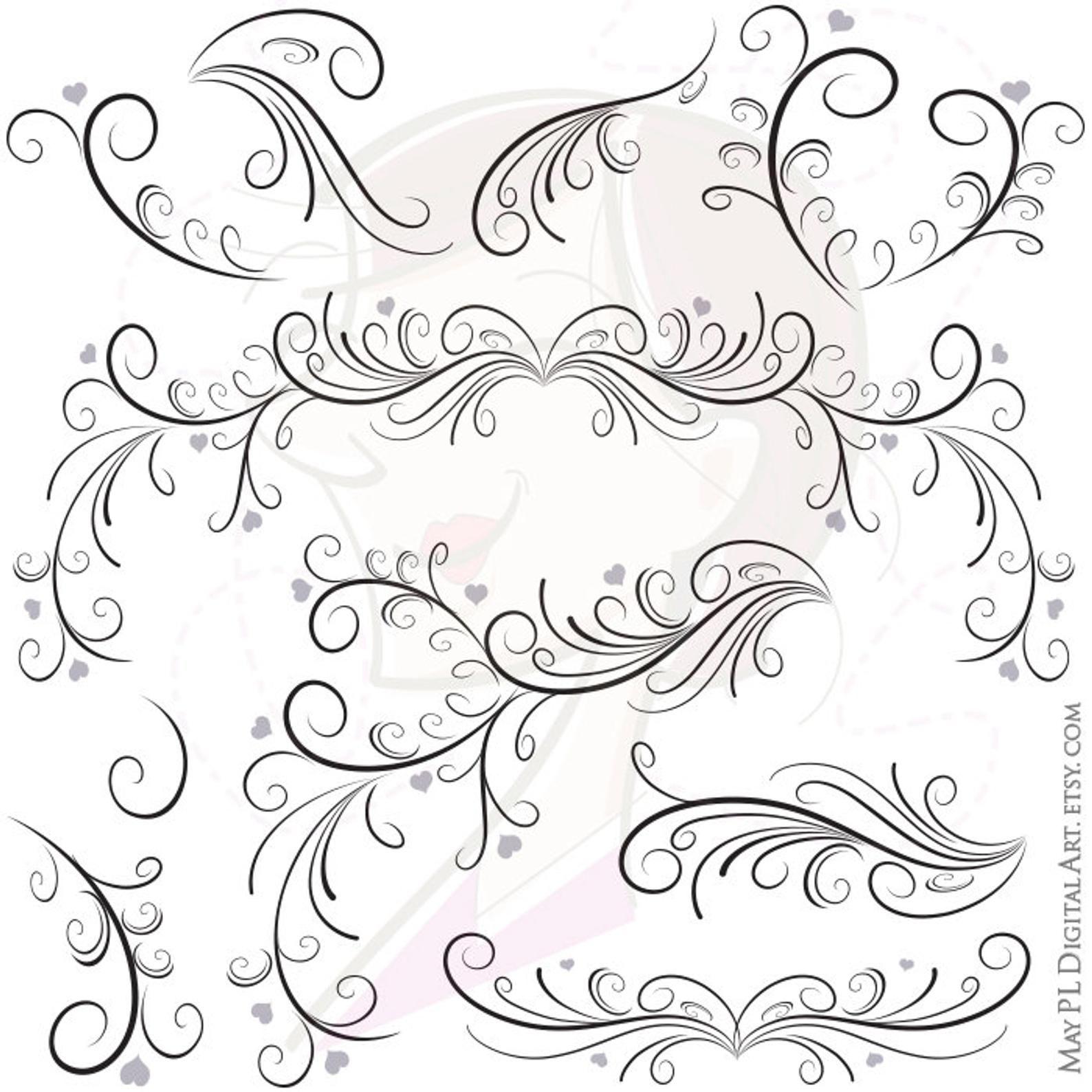 Swirl Border Png Vector Clipart Easily Insert These Digital Etsy Clip Art Vintage Clip Art Borders Clip Art