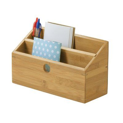 2 Slot Bamboo Mail Organizer With