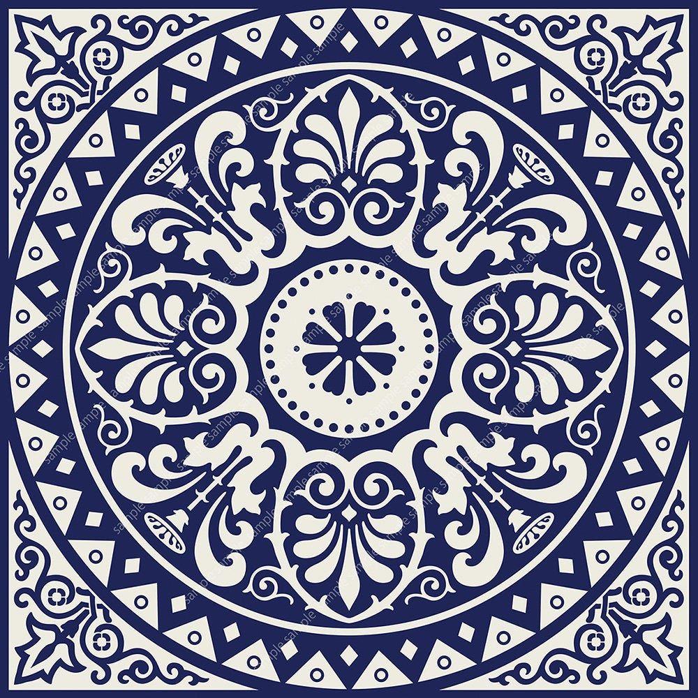 Printable Mandala Style Wall Art Navy Blue Set Of 2 Medallion Motif Prints Digital Tiles Square Geometric Design Diy 8x8 12x12 Posters Geometric Art Blue Wall Art Geometric Wall Art