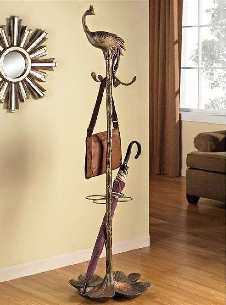 Peacock Bird Coat Rack & Umbrella Stand Hall Tree Unique Decorative Stand