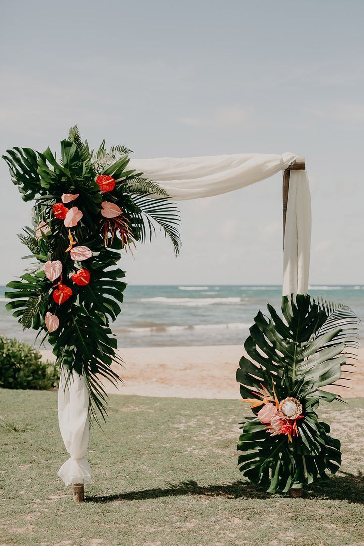 destination Wedding - Arch - Tropical Hawaii flower arch at Loulu Palm Farm Estate