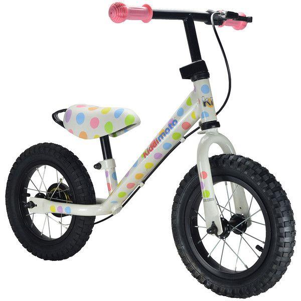 Kiddimoto Super Junior Max Pastel Dotty Balance Bike (460 BRL) ❤ liked on Polyvore featuring kids toys and pastel dotty