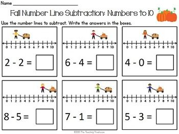 fall number line addition subtraction within 10 worksheets ideas resources math numbers. Black Bedroom Furniture Sets. Home Design Ideas