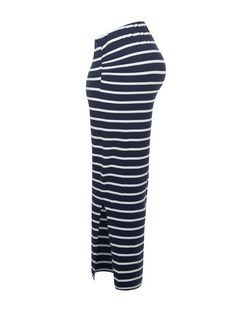 Maternity Blue Stripe Overbump Maxi Skirt | New Look