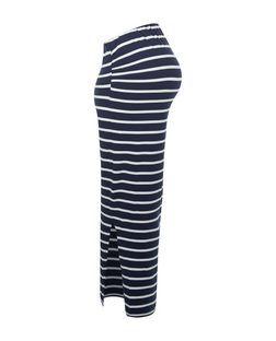 Maternity Blue Stripe Overbump Maxi Skirt   New Look