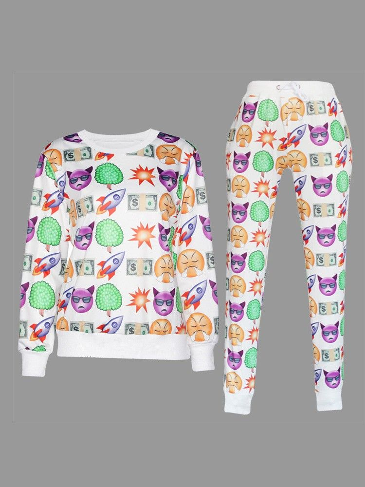 Boy Emoji Printed Joggers Clothes Pants White 3d Emoji Suits Trendy Crop Tops Clothes Cheap Womens Clothing