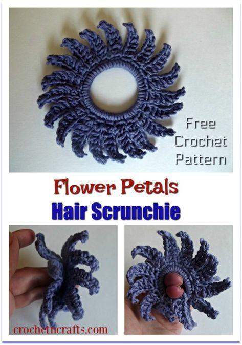 Flower Petals Crochet Hair Scrunchie - CrochetNCrafts