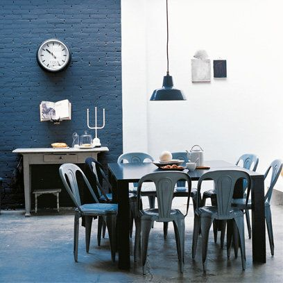 industrial style dining room cafe style dining chairs - Blue Cafe Decorating