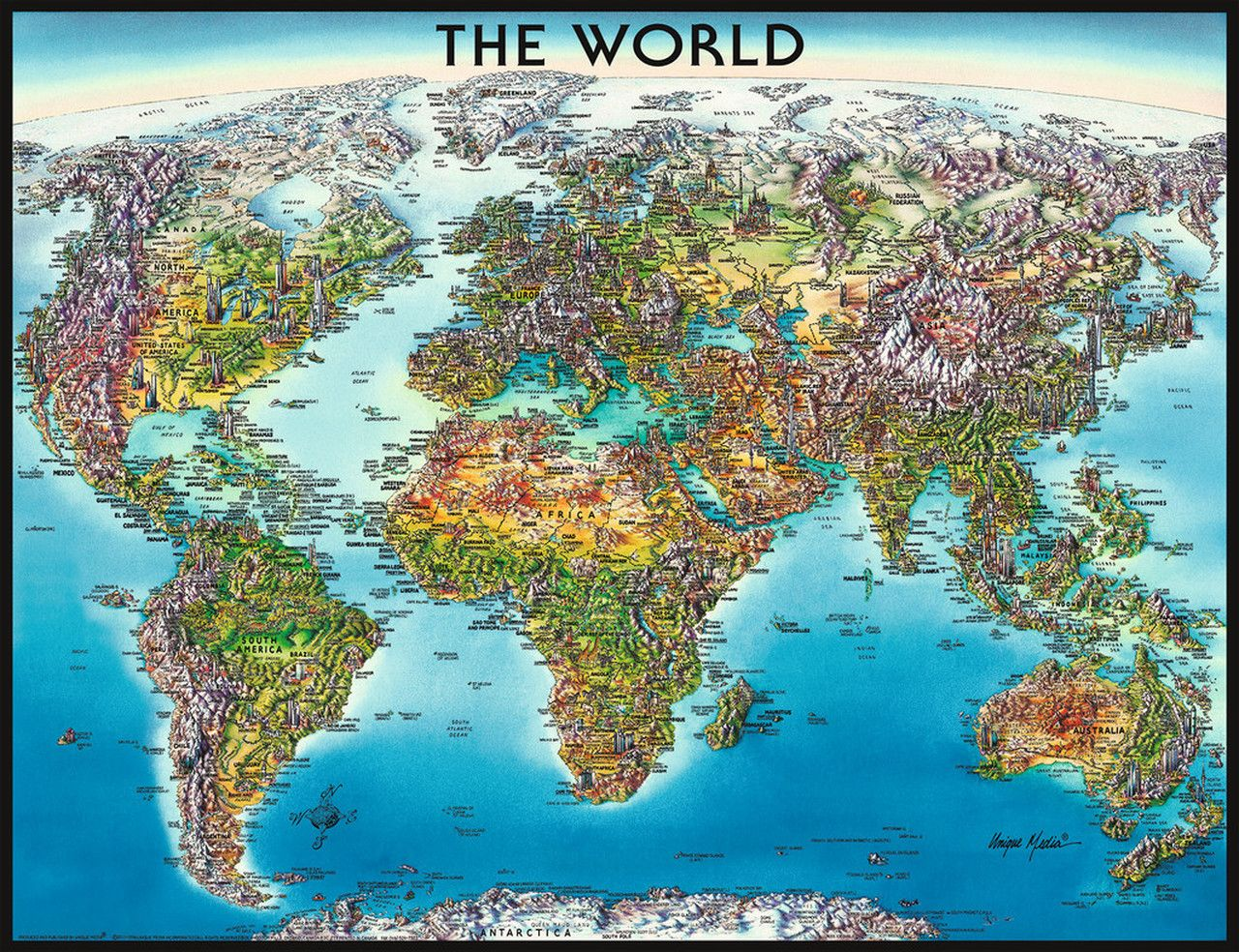 World Map 2000pc Jigsaw Puzzle By Ravensburger Illustrated Map