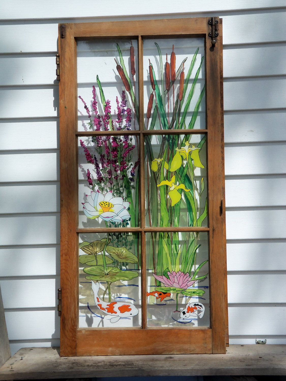 Vintage garden painted vintage window water garden by for Window glass design in kerala