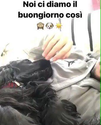 April 28, 2017. Bologna. Ignazio with a dog.
