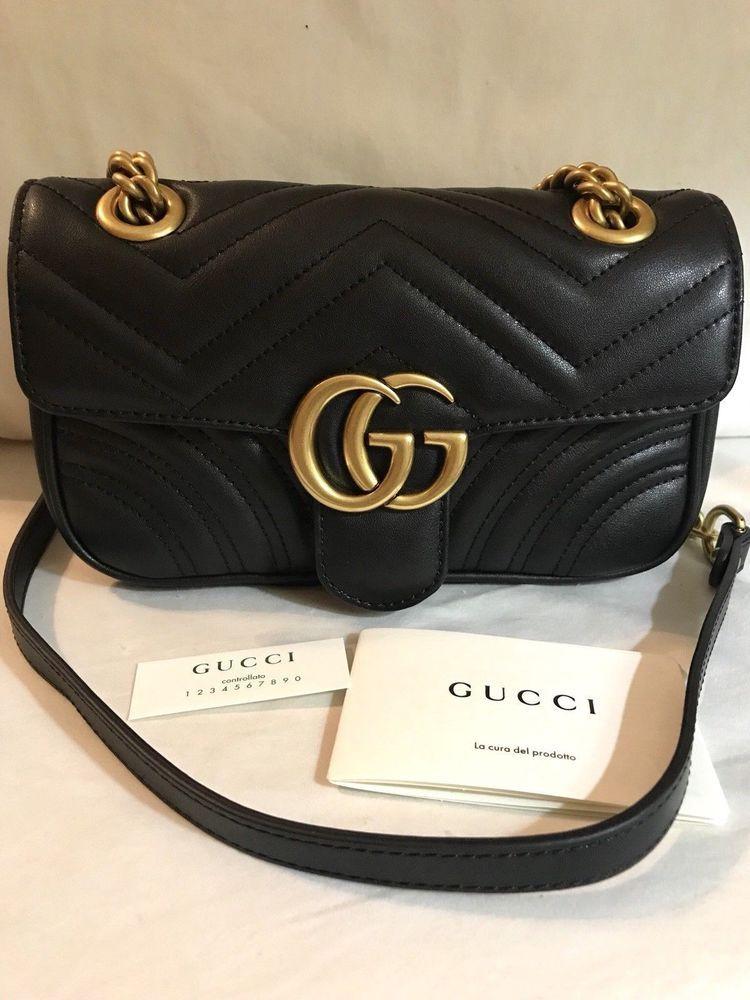 Gucci  GG Black Marmont matelassé Mini Shoulder Bag  purses  fashion Sacs À 8a3555b4d60